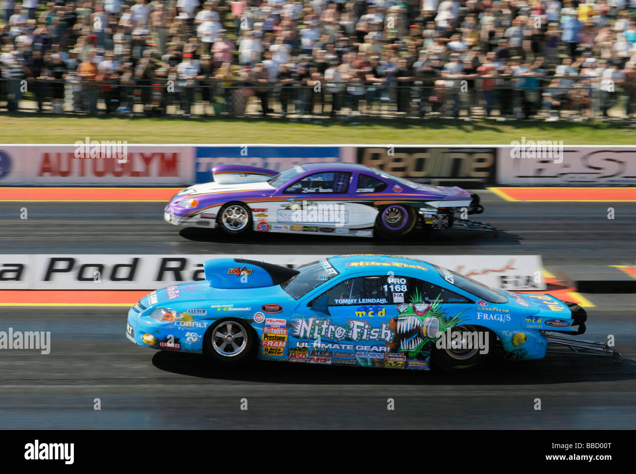 Pro stock drag race santa pod raceway england uk stock image