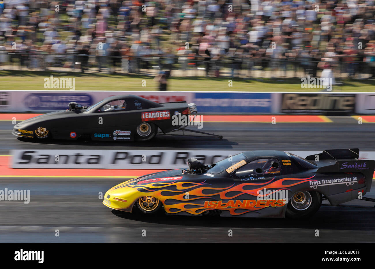 Top methanol funny car drag race at Santa Pod raceway Bedfordshire ...
