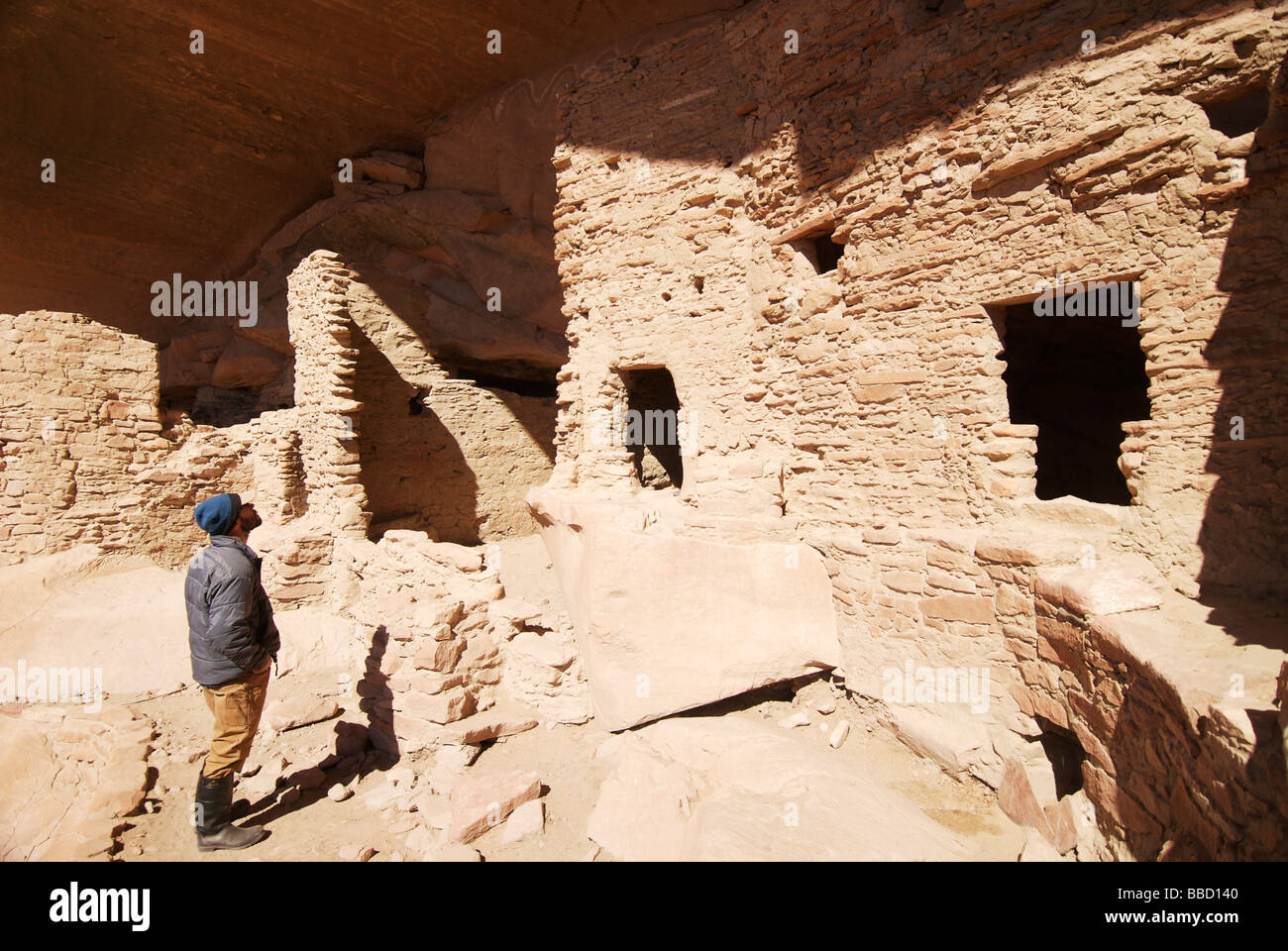 Snake House or River House Anasazi Ruins along San Juan River between Bluff and Mexican Hat Bluff Utah - Stock Image