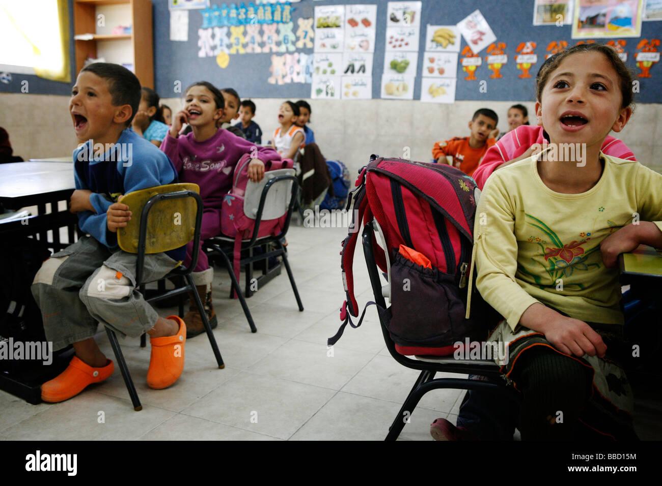Children at the Bedouin primary school of Al Ghazali, Rahat, Israel. - Stock Image