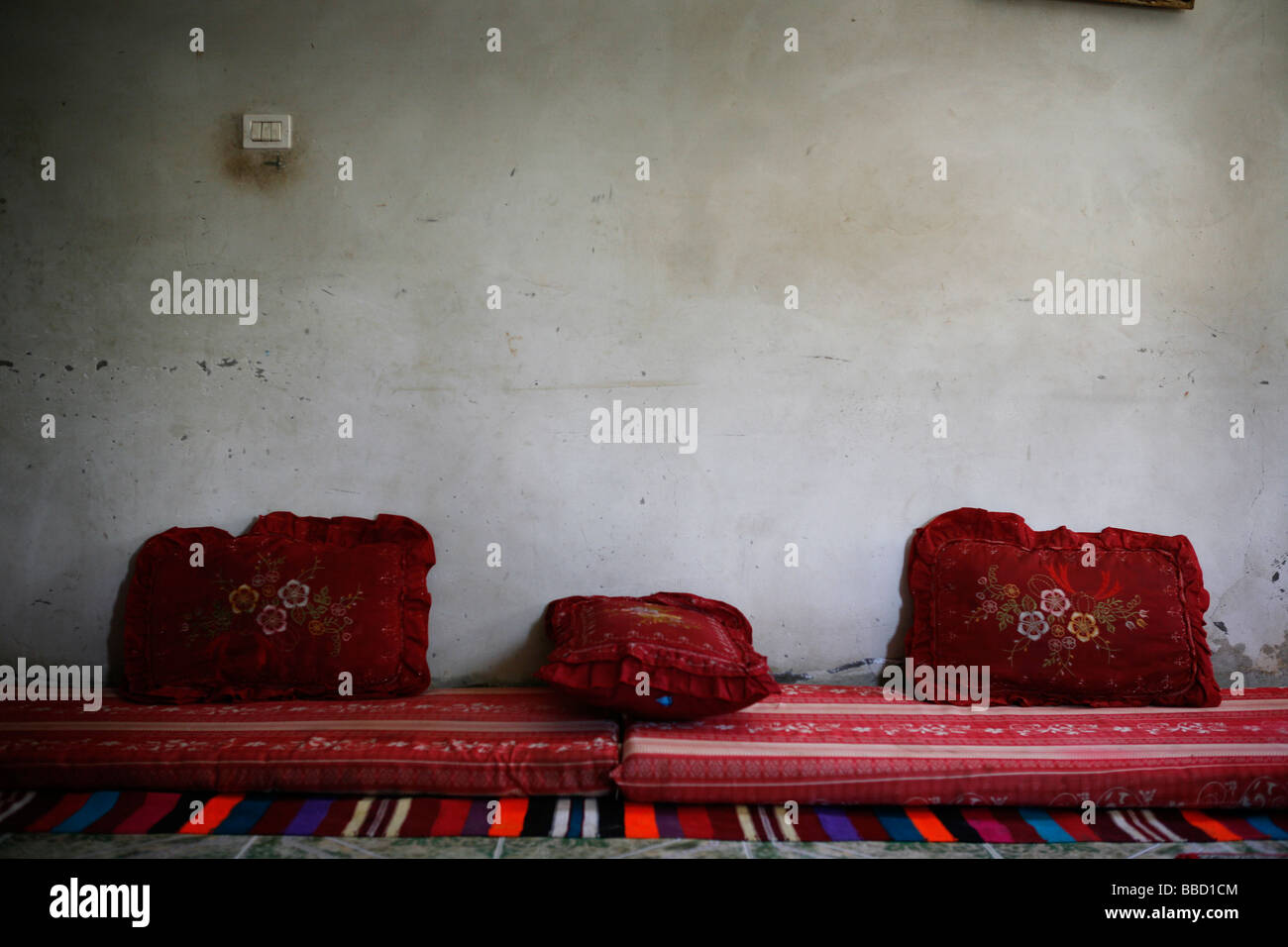 A sitting room in house in the Bedouin settlement of Rahat. Negev desert, Israel. - Stock Image