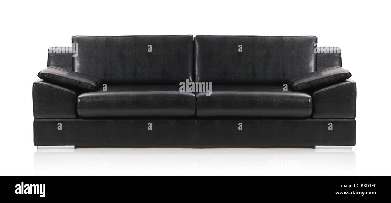 Image of a modern black leather sofa Stock Photo: 24258188 - Alamy