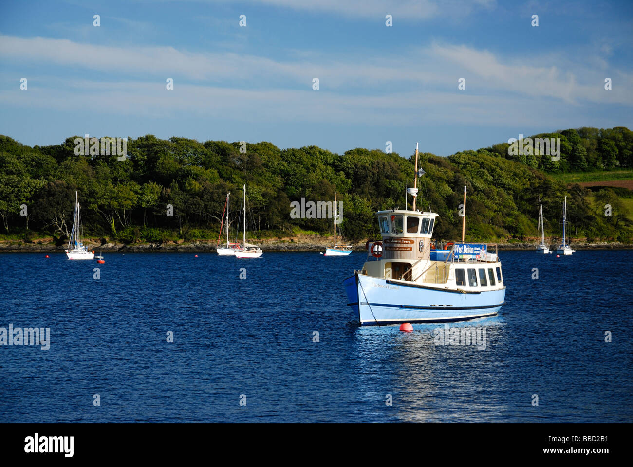 The St. Mawes - Falmouth ferry at St Mawes Harbour on the River Fal, Cornwall, UK Stock Photo