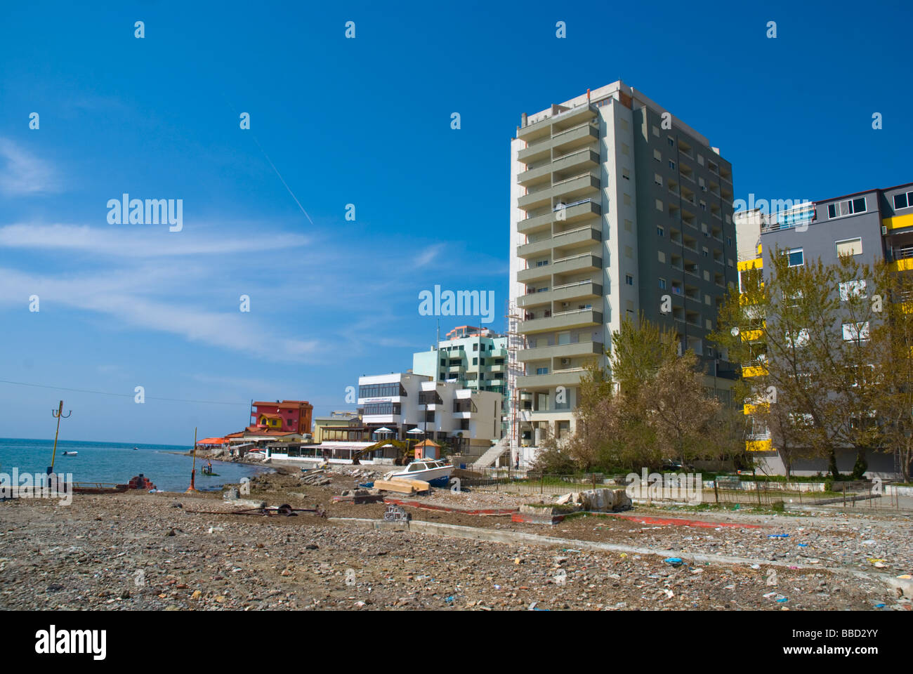 Polluted city beach of Durres Albania Europe - Stock Image
