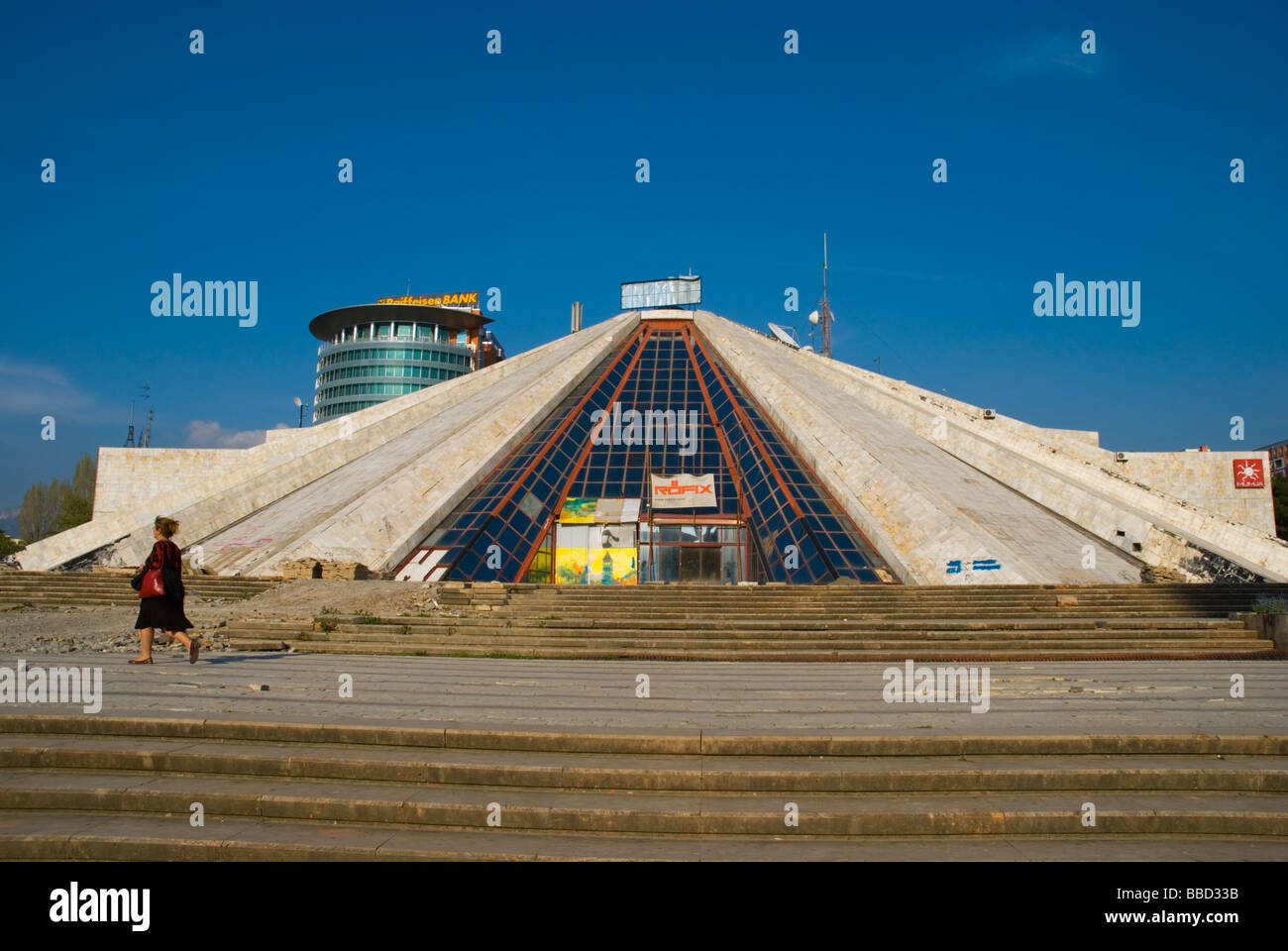 Pyramid that used to house former dicator Hoxhas museum is now in disuse in central Tirana Albania Europe - Stock Image