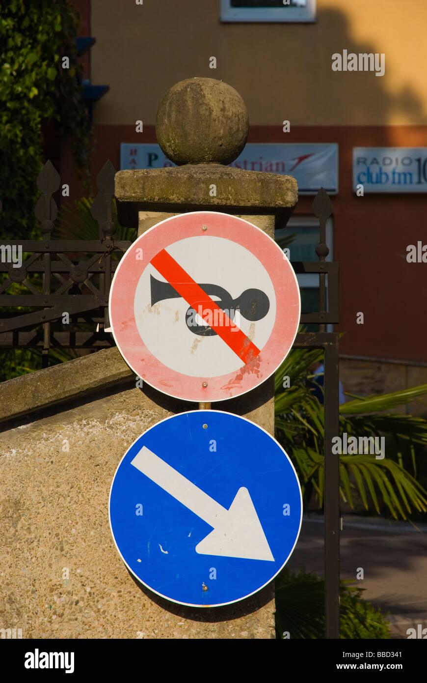 No honking sign in Tirana Albania Europe - Stock Image
