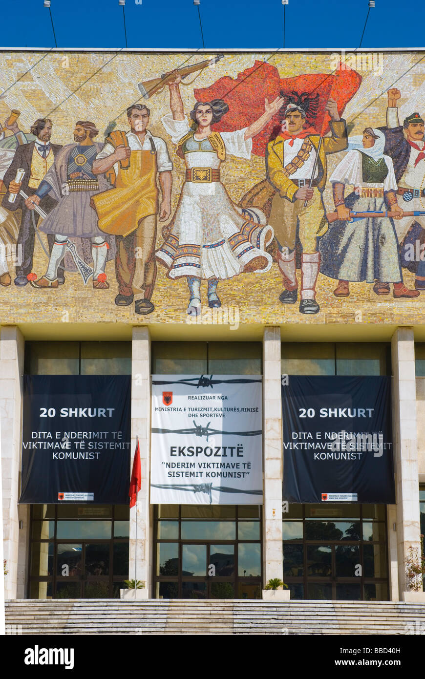 Albania mosaic on National Museum of history in central Tirana Albania Europe - Stock Image