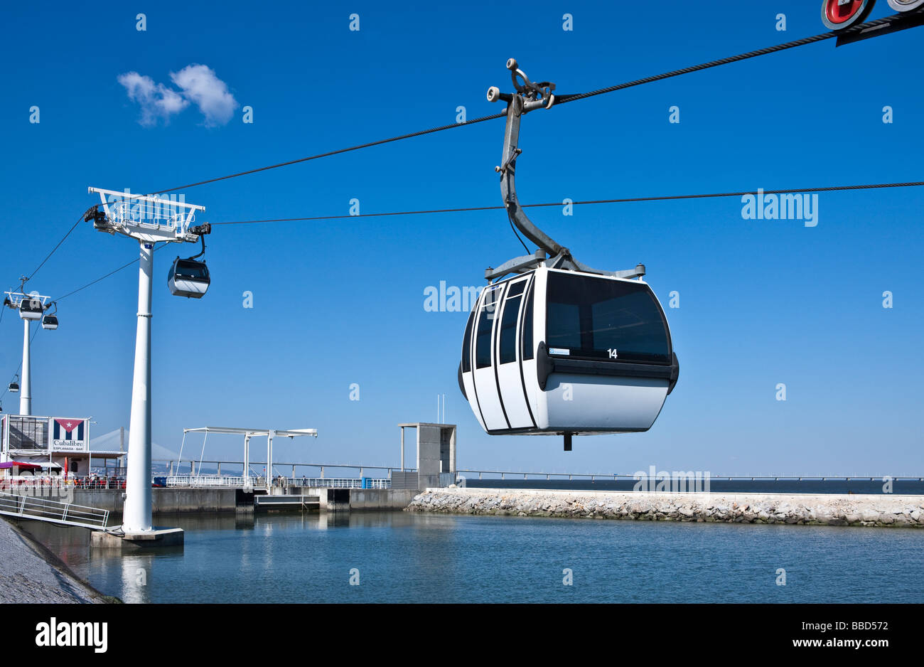 Lisbon the cableway in the Parque Das Nacoes exhibition area - Stock Image