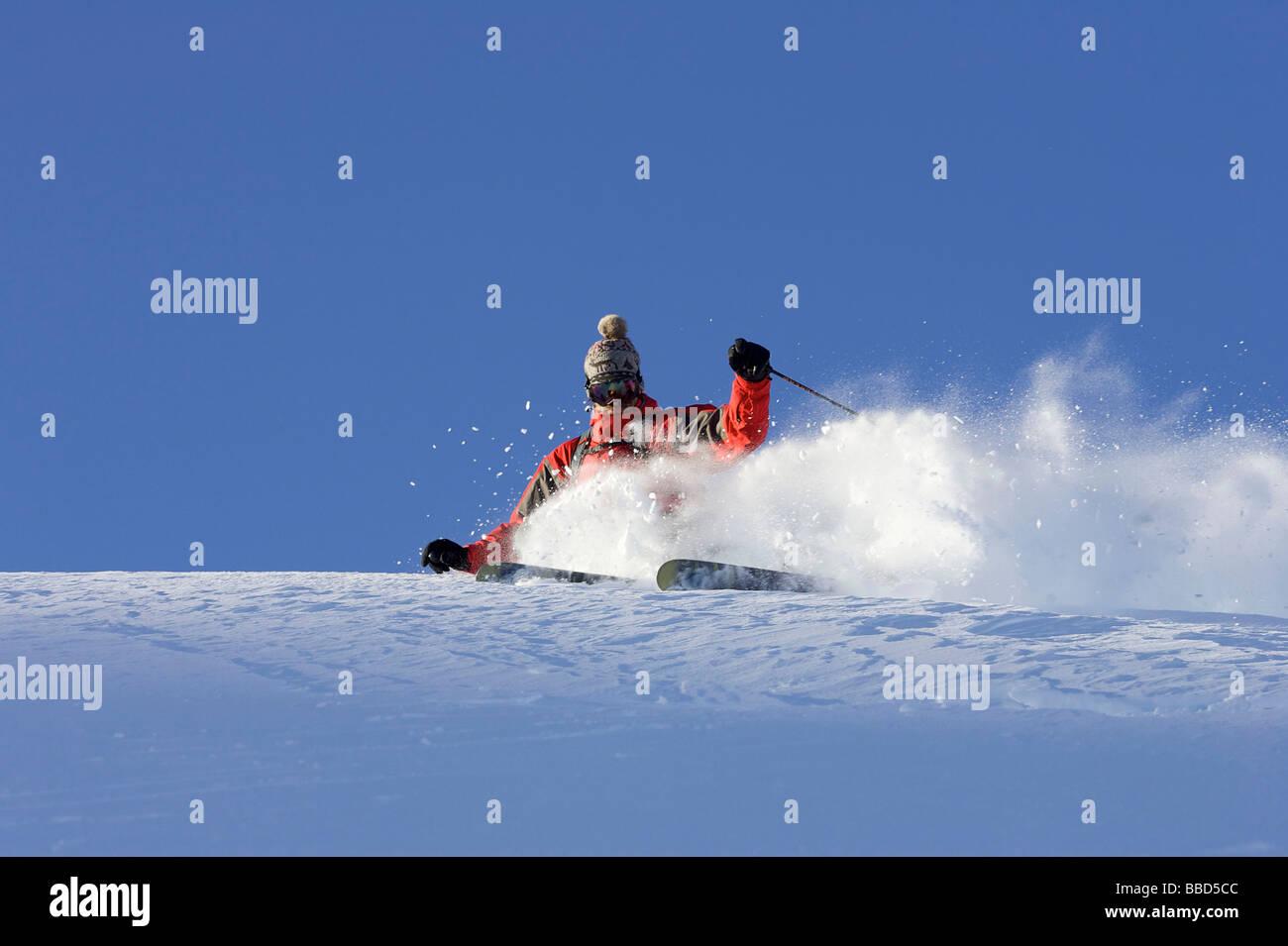 Skier turning off piste. - Stock Image