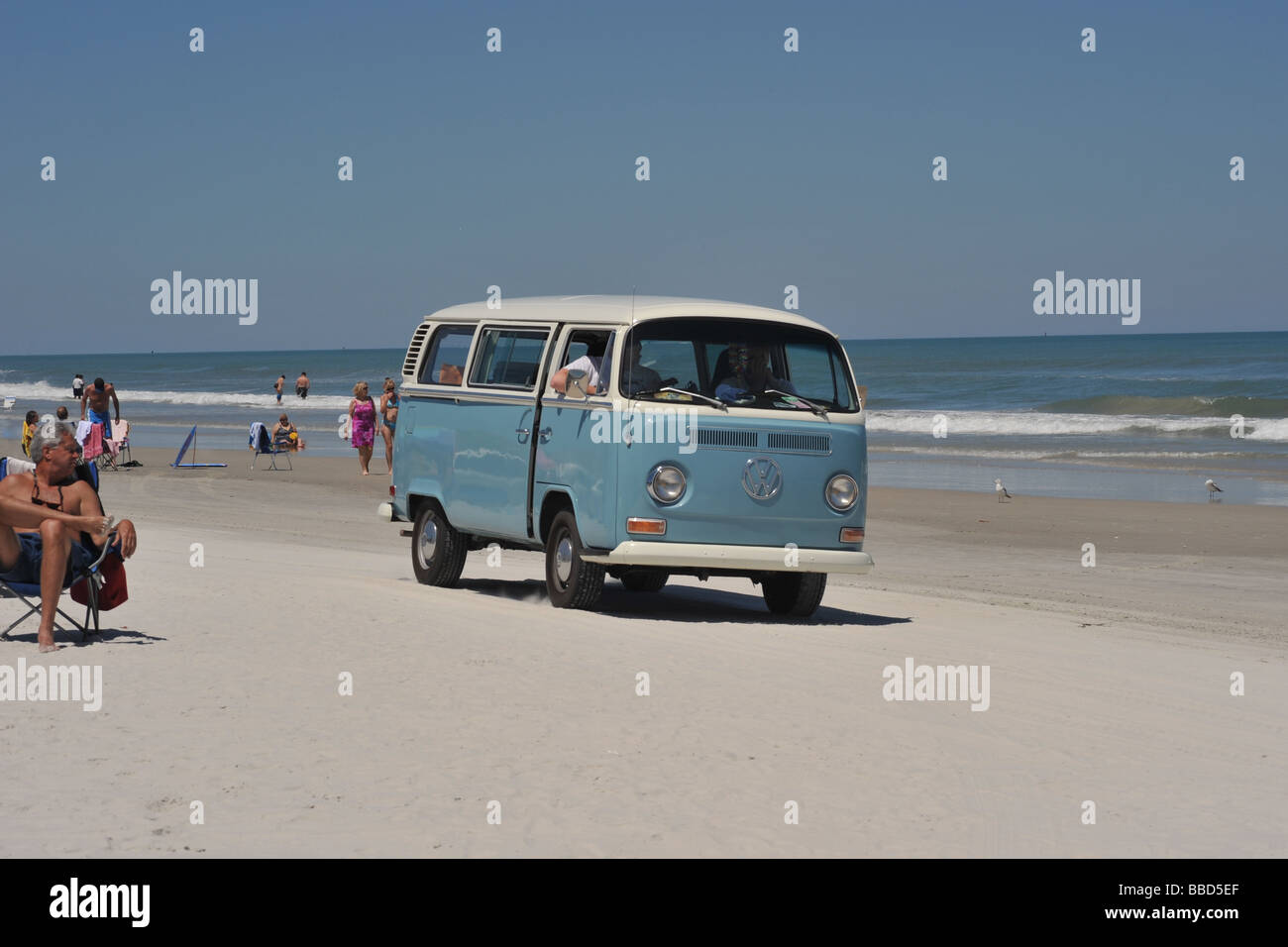 VW Combi on New Smyrma Beach Florida USA - Stock Image
