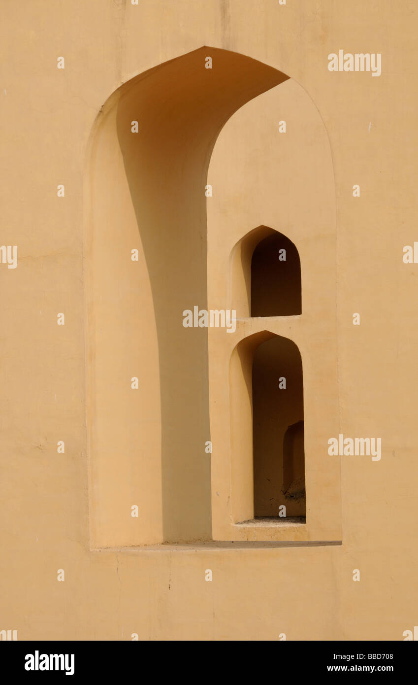 Arches in the gnomon  of the  giant sundial Samrat Jantar built by Maharajah Jai Singh as part of the Jantar Mantar - Stock Image
