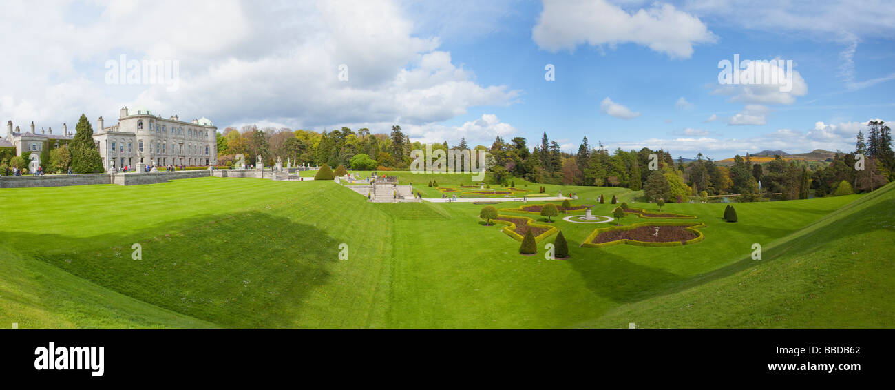 Panoramic Photo of Powerscourt Gardens County Wicklow Ireland Eire Irish Republic - Stock Image