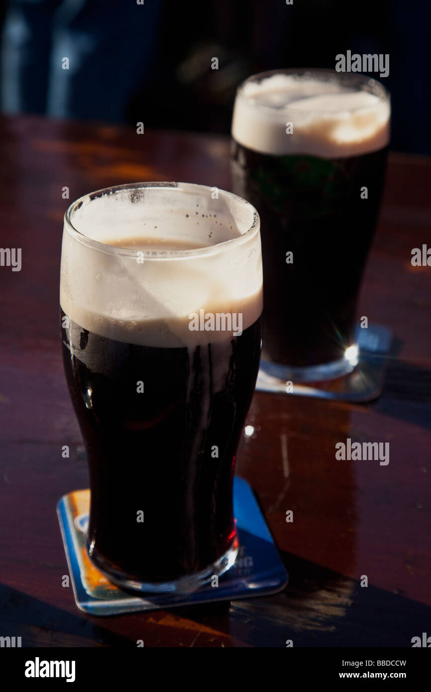 Two 2 pints Guinness stout Ireland Eire Irish Republic - Stock Image