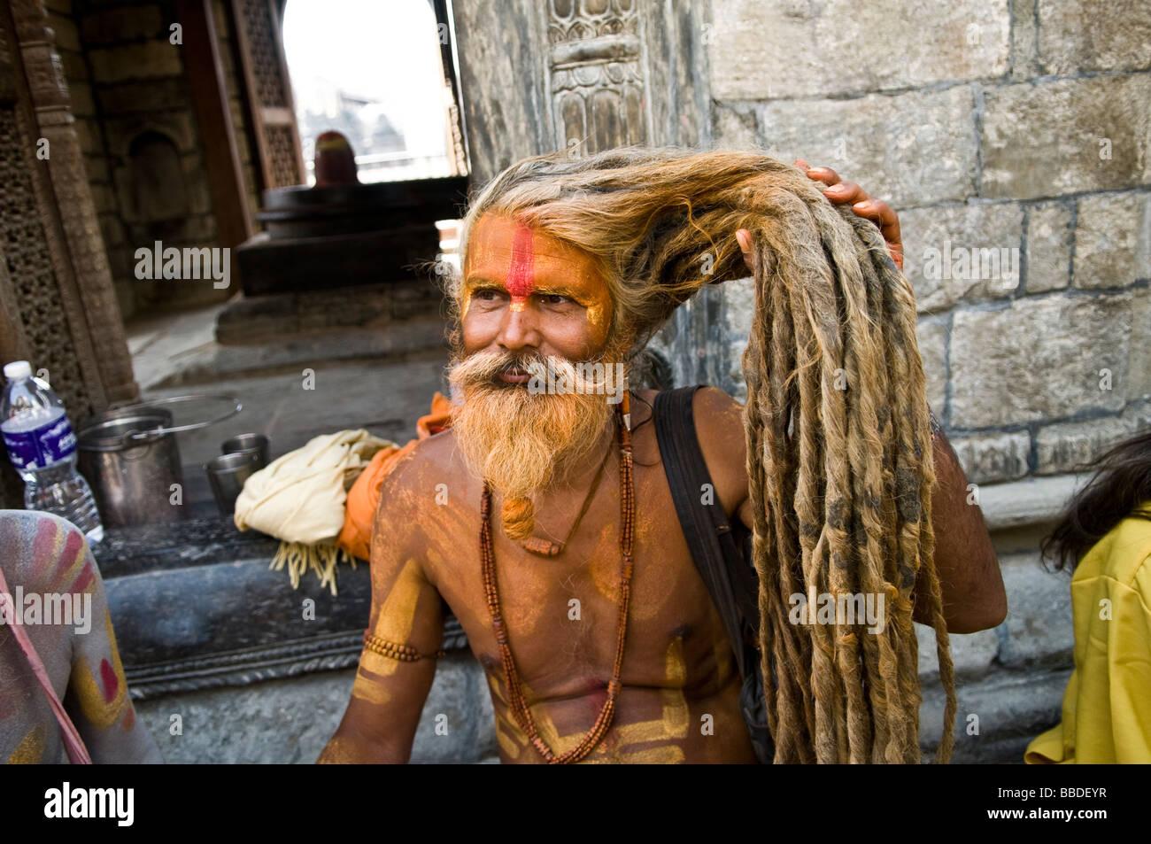 An Indian Sadhu Holy Man With Very Long Rasta Style