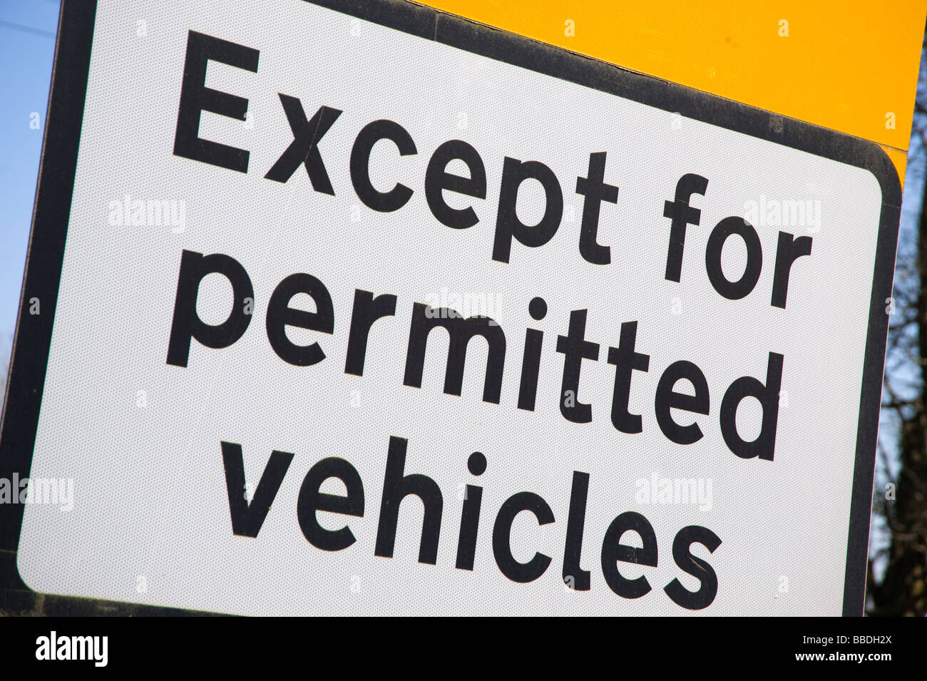 Close-up of an 'Except for permitted vehicles' sign - Stock Image