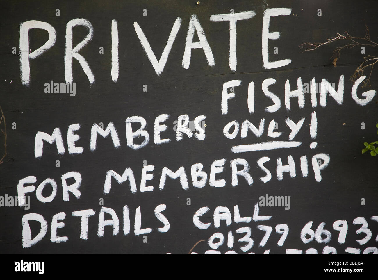 Private Fishing Members Only sign - Stock Image