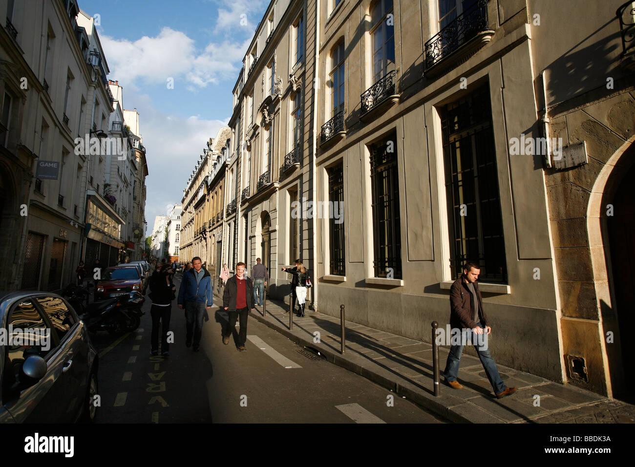 Rue Saint Andre des Arts, Paris Left Bank - Stock Image