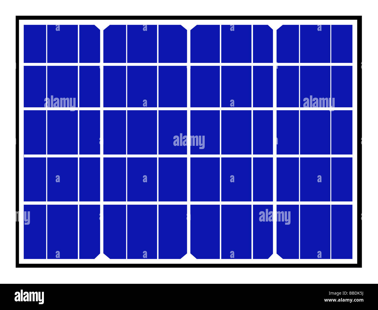 Illustration of blue solar panels and cells for renewable energy. - Stock Image