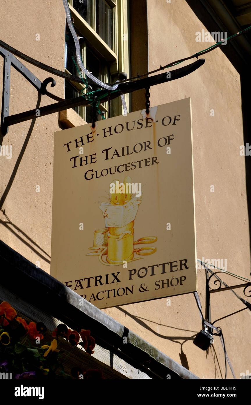 Beatrix Potter shop sign, Gloucester, Gloucestershire, England, UK - Stock Image