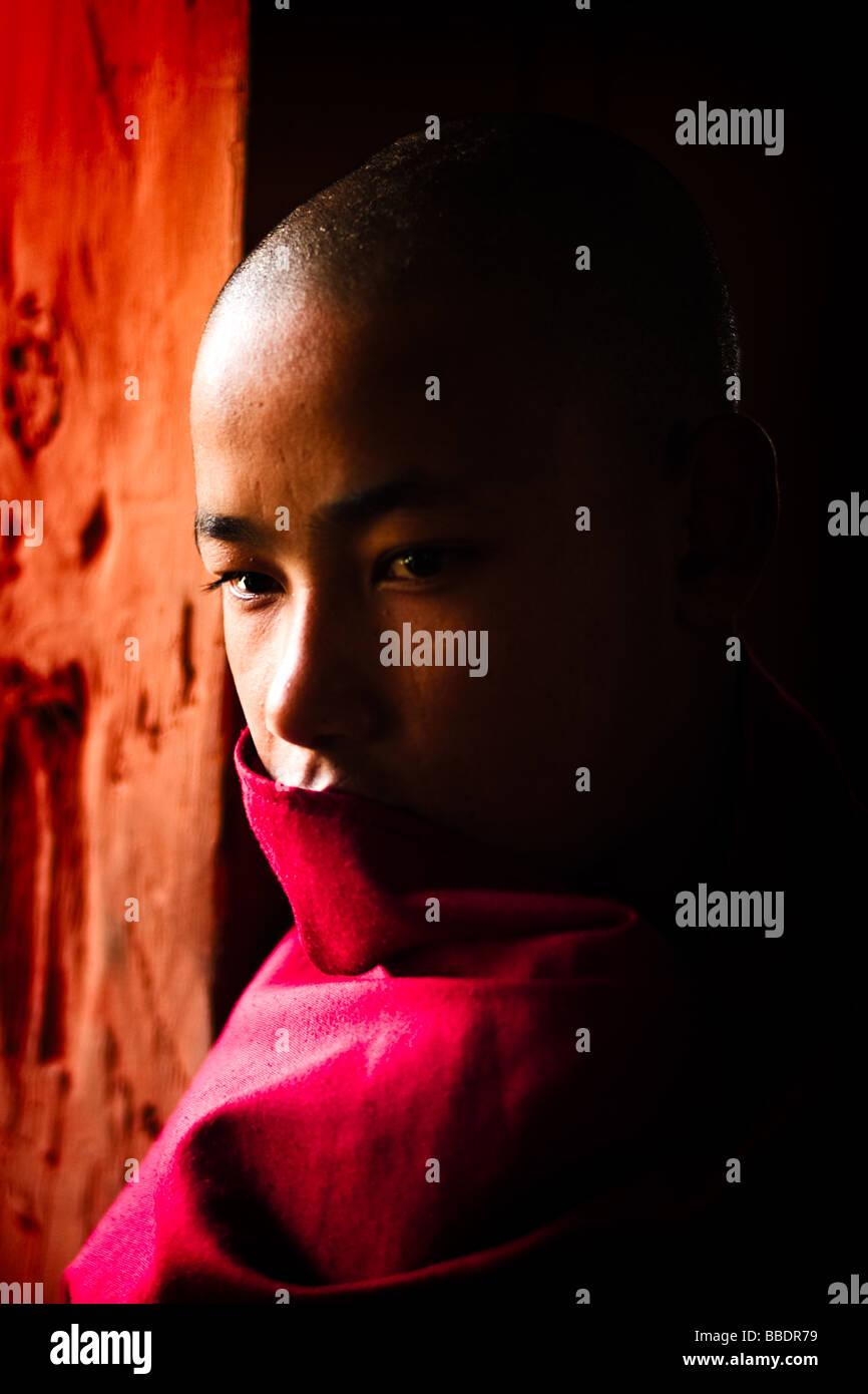 Portrait of a young Bhutanese Monk - Punakha Dzong, Bhutan - Stock Image