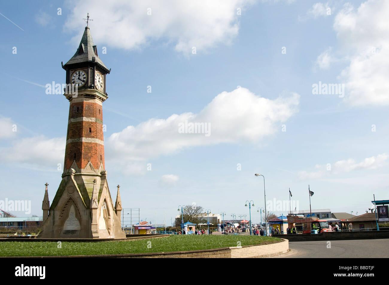 skegness linconshire coast seaside resort uk england english clocktower clock tower town centre center - Stock Image