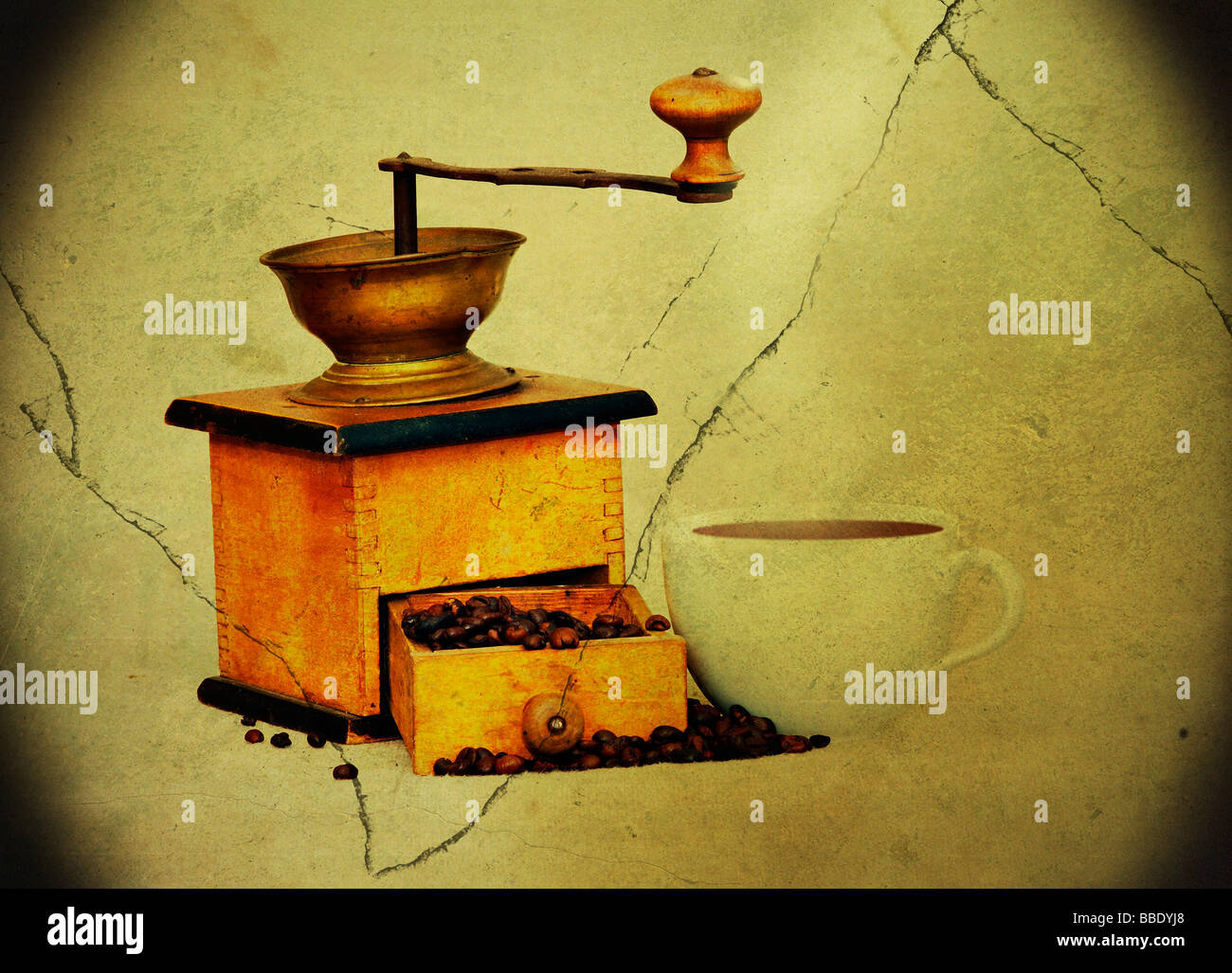 Antique grinder coffee and beans and cup of hot black coffee in grunge style - vignette Stock Photo
