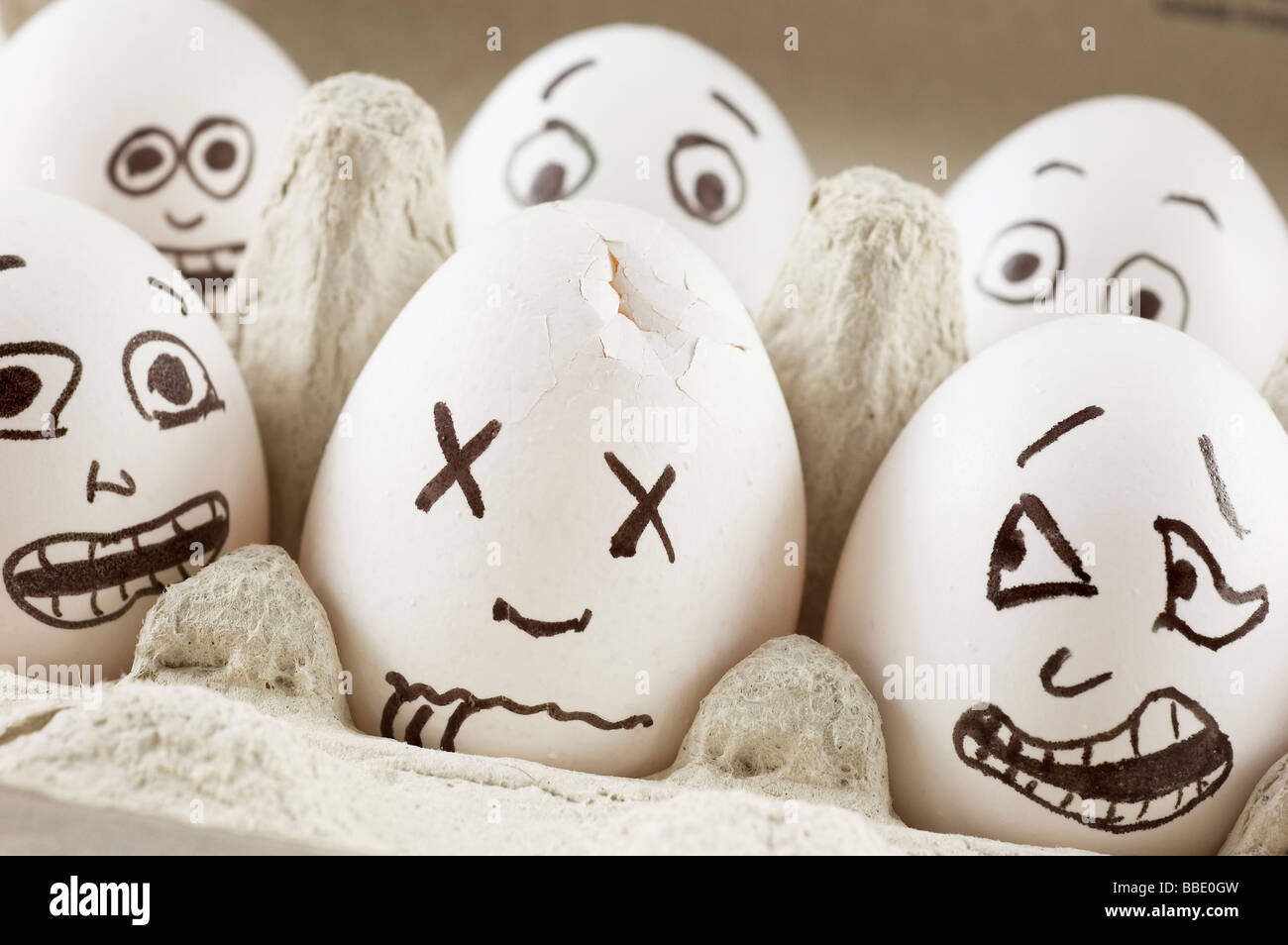 Eggs are scared of their dead friend - Stock Image