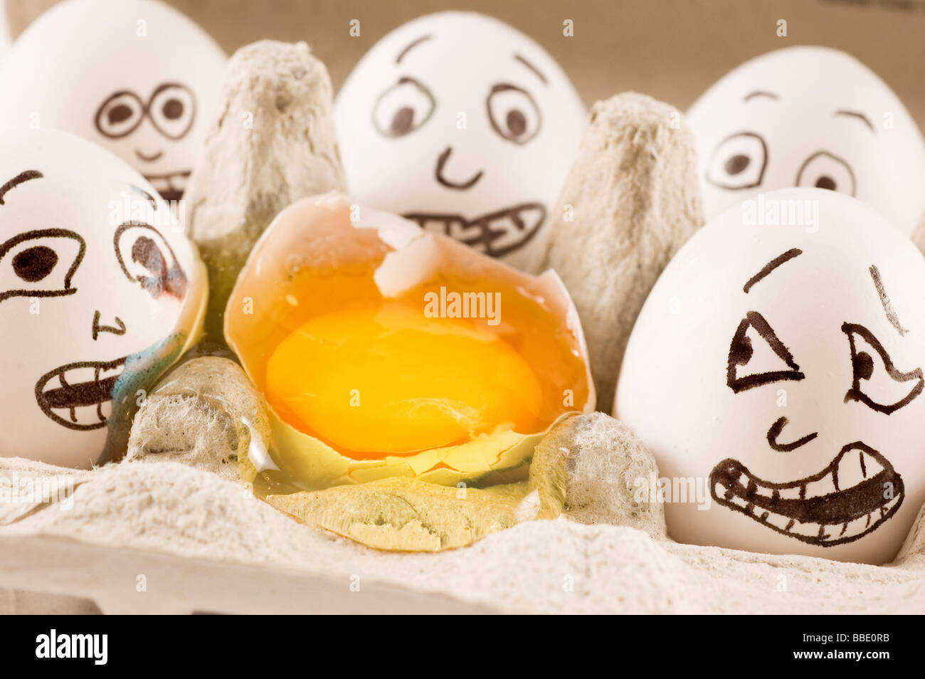Eggs are scared as they see dead friend - Stock Image