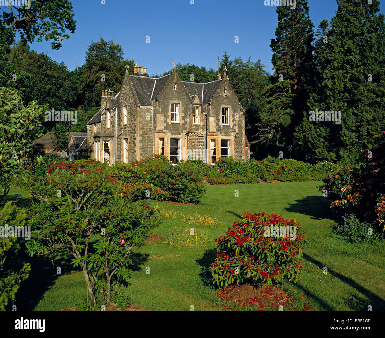 Scottish country house set in large garden in Summer, UK. Stock Photo
