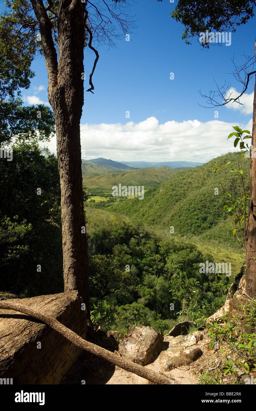 On the Way to Agua Fria Waterfall Chapada dos Veadeiros Veadeiros Tableland Goias Brazil - Stock Image