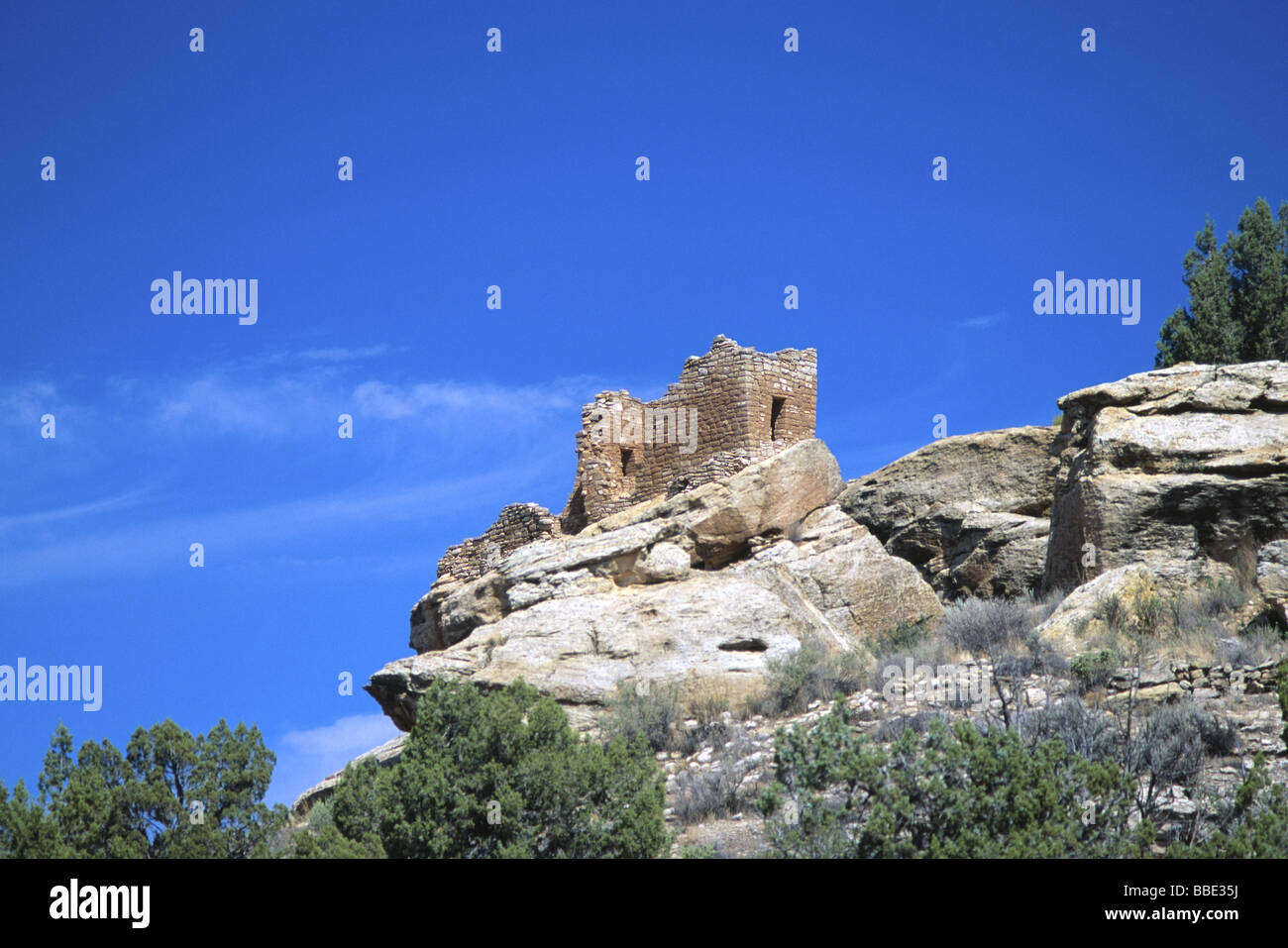 Strong House Anasazi ruin in Hovenweep National Monument Utah USA - Stock Image