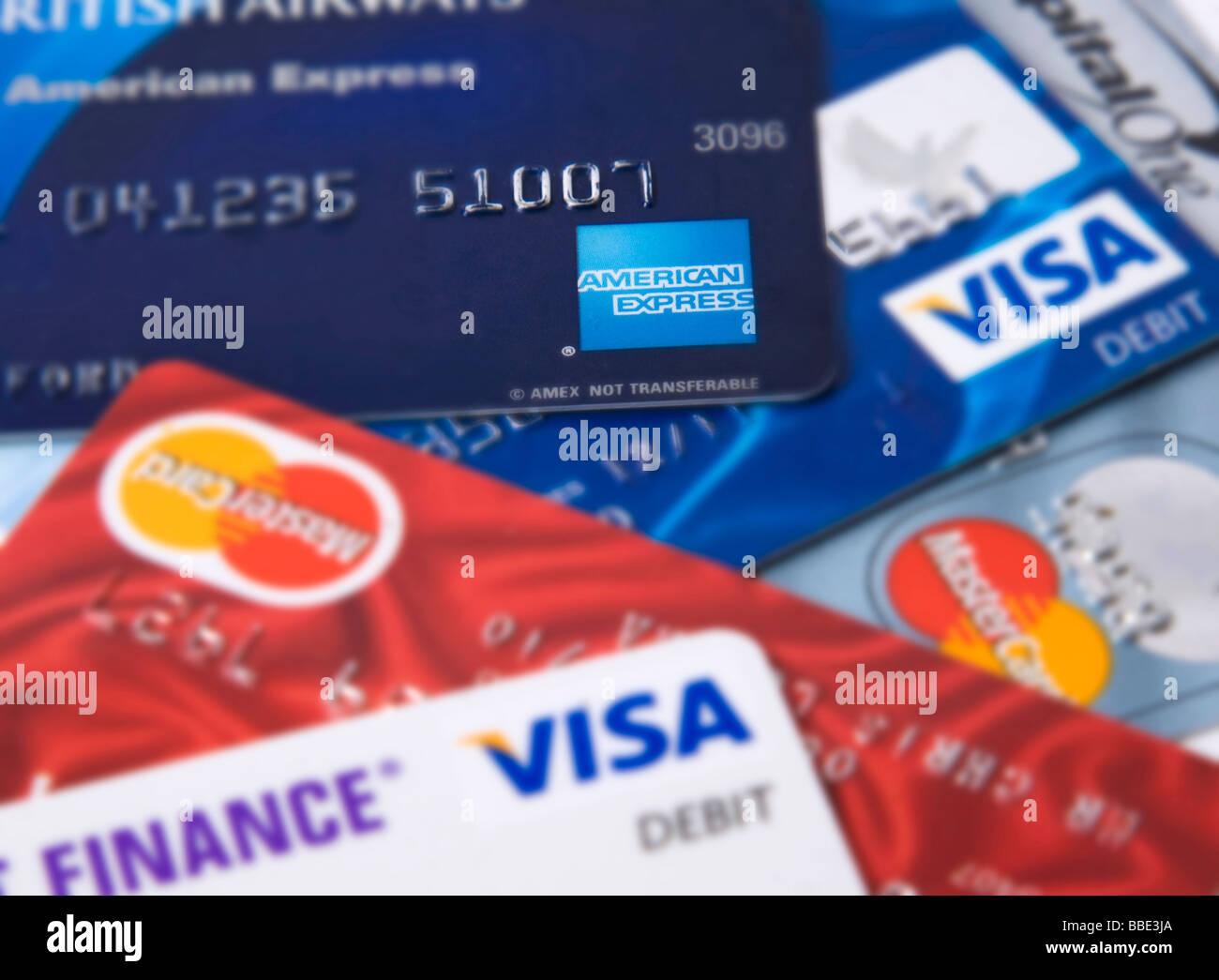 'credit cards'  visa mastercard - Stock Image