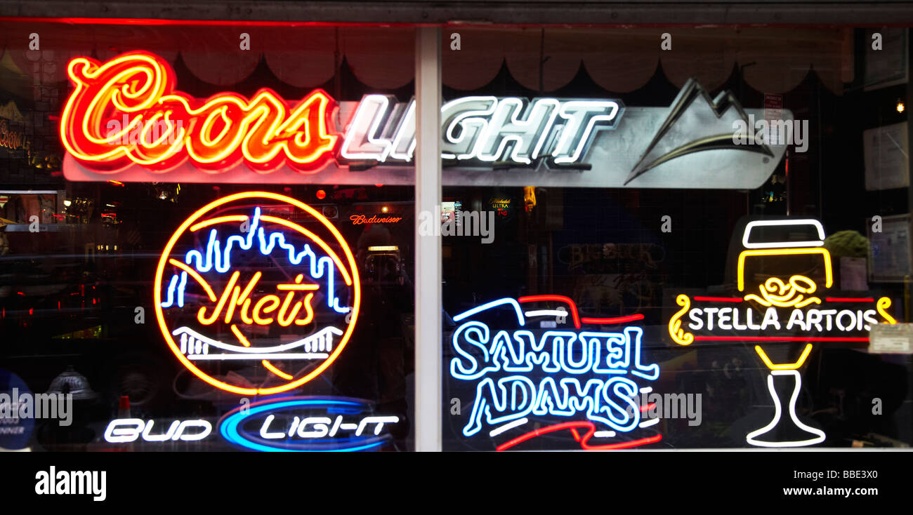 Coors light window sign stock photos coors light window sign stock bar neon sign in window stock image mozeypictures Choice Image