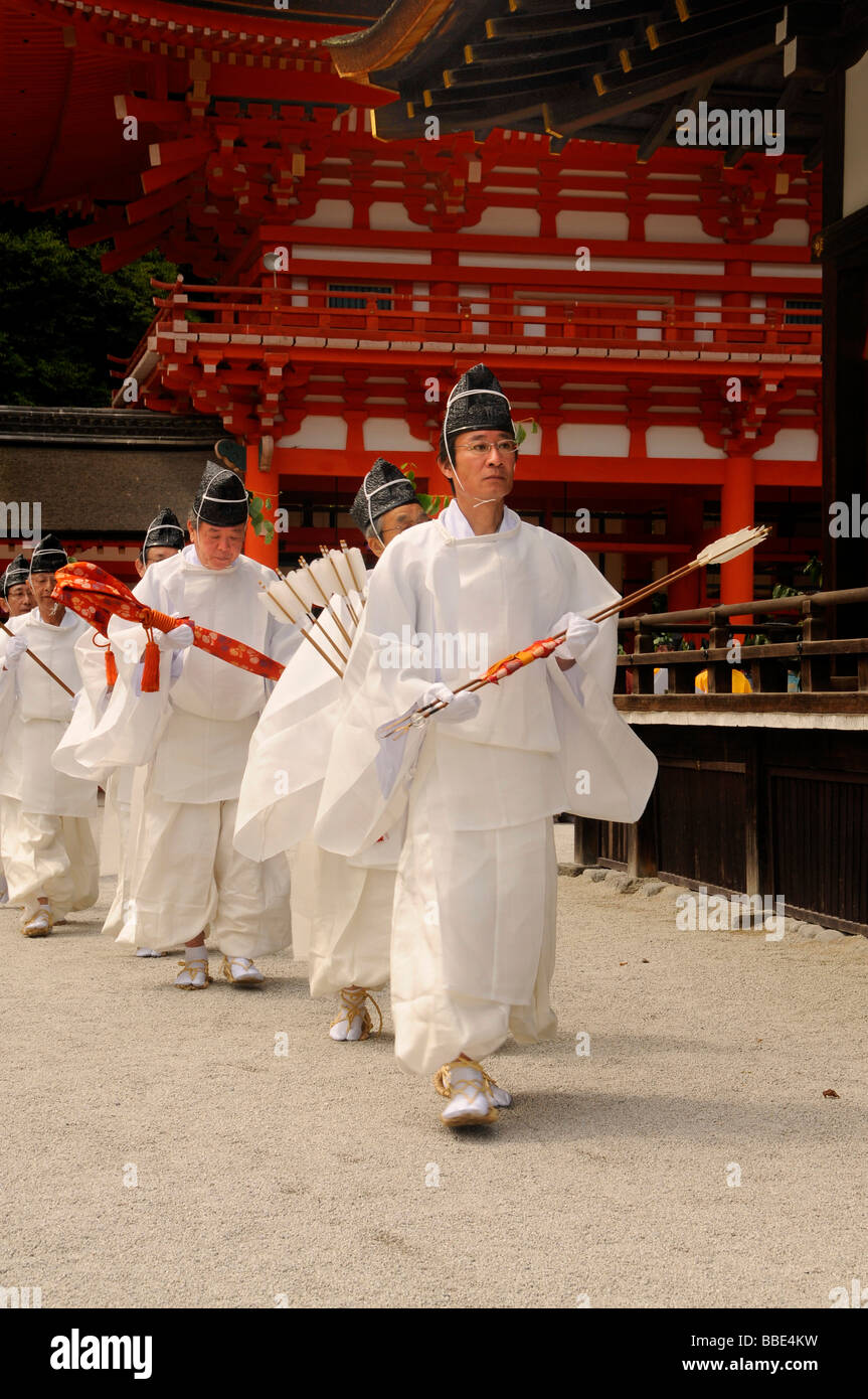 Beginning of the procession from the Shimogamo to the Mikage shrine at Mt. Mikage, west of the Hie Mountain, Kyoto, Stock Photo