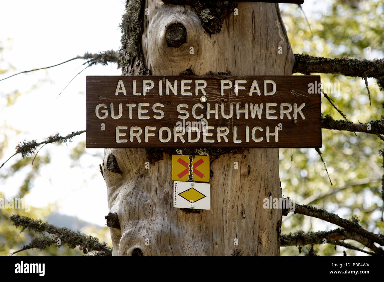 Sign on a path at Mt Feldberg in the Black Forest, Germany, Europe - Stock Image