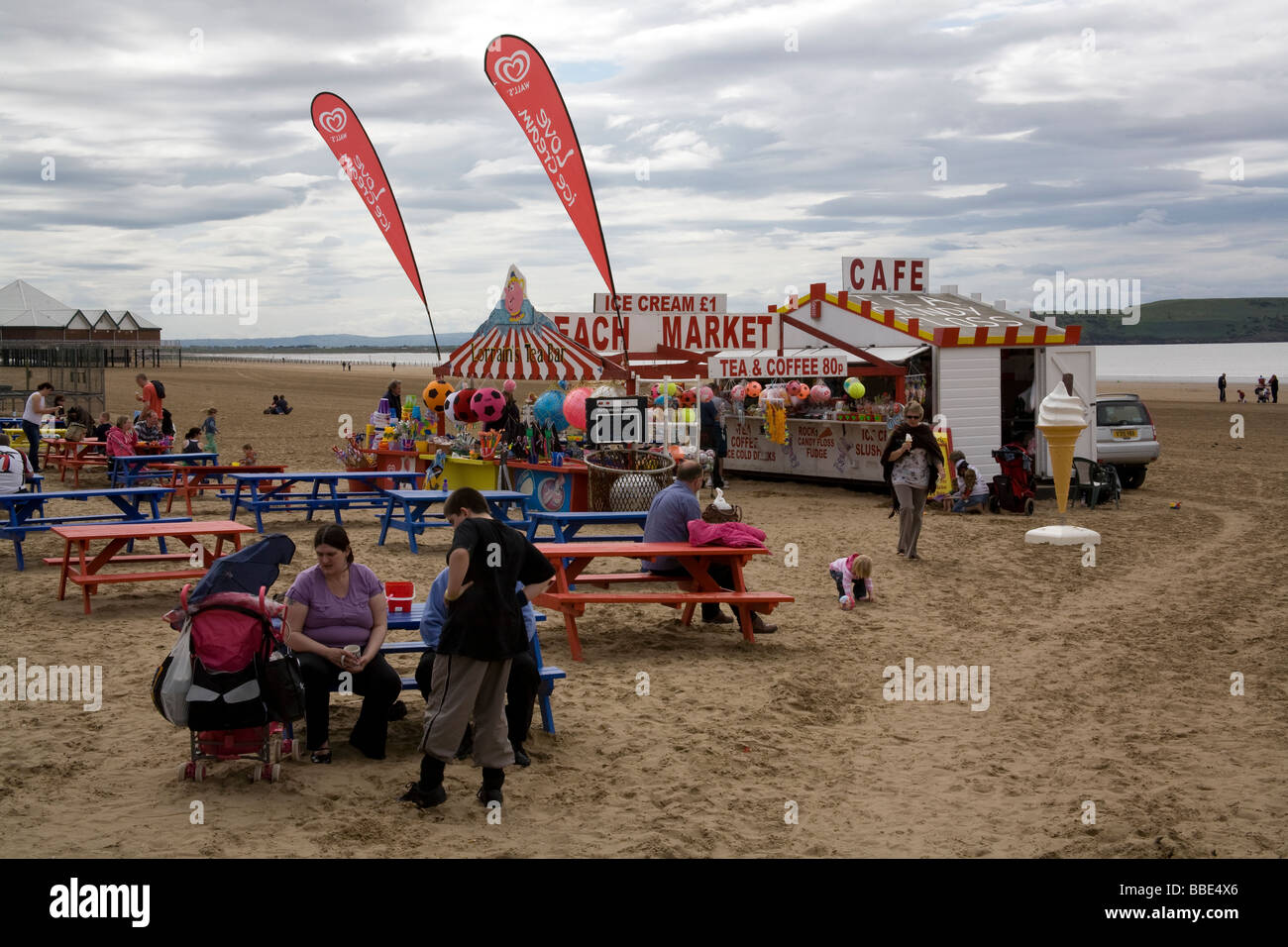 People on the beach at Weston Super Mare Somerset UK - Stock Image