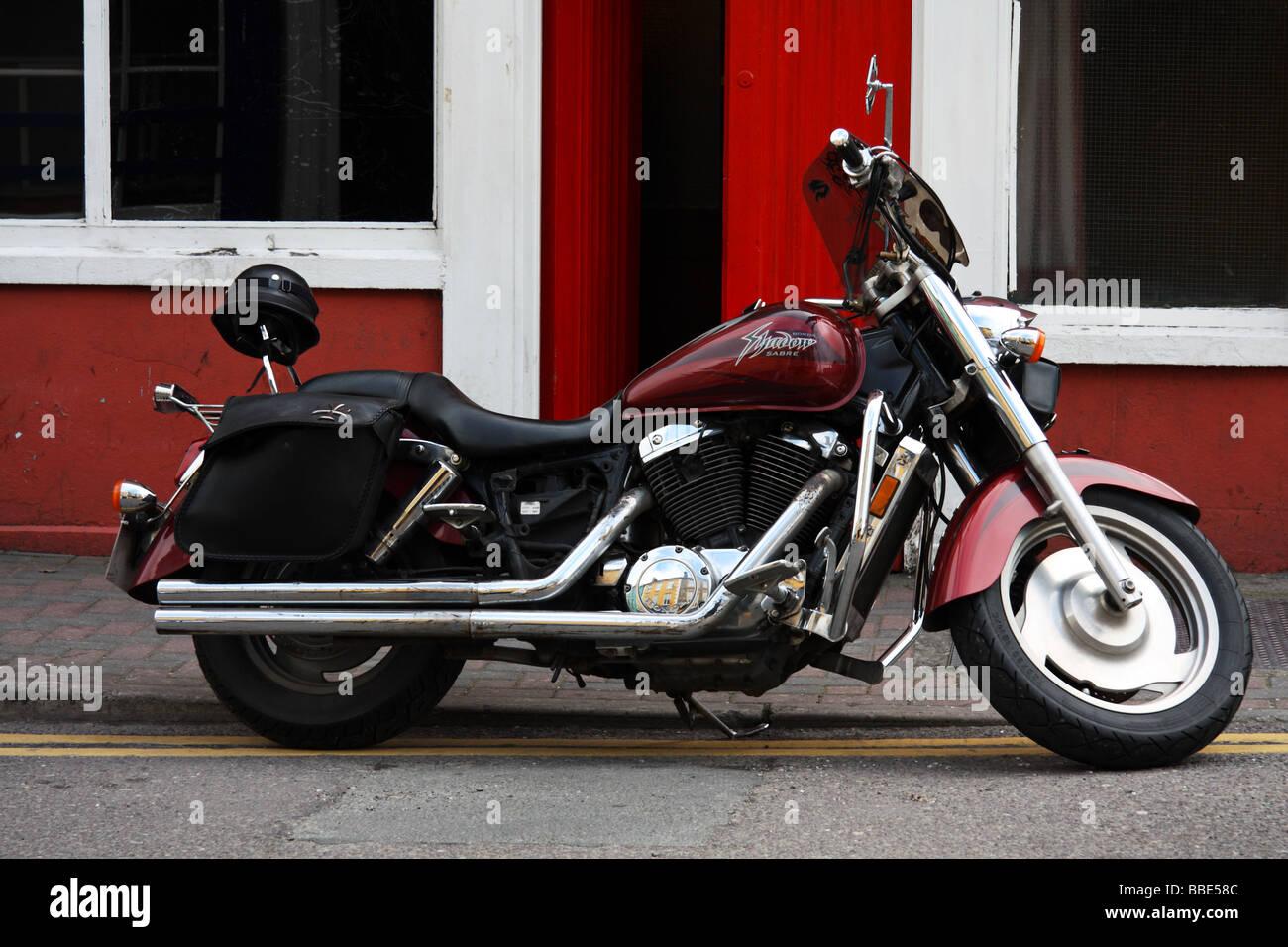 Honda Shadow Sabre Motorcycle parked outside Bridewell bar Bandon Cork Ireland Stock Photo