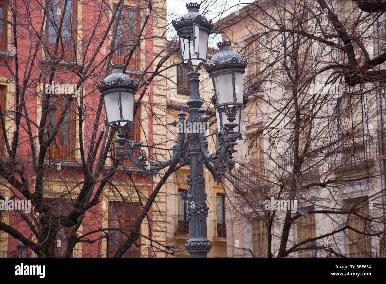 Antique Street Lamps In Plaza Bib Rambla In Granada Spain