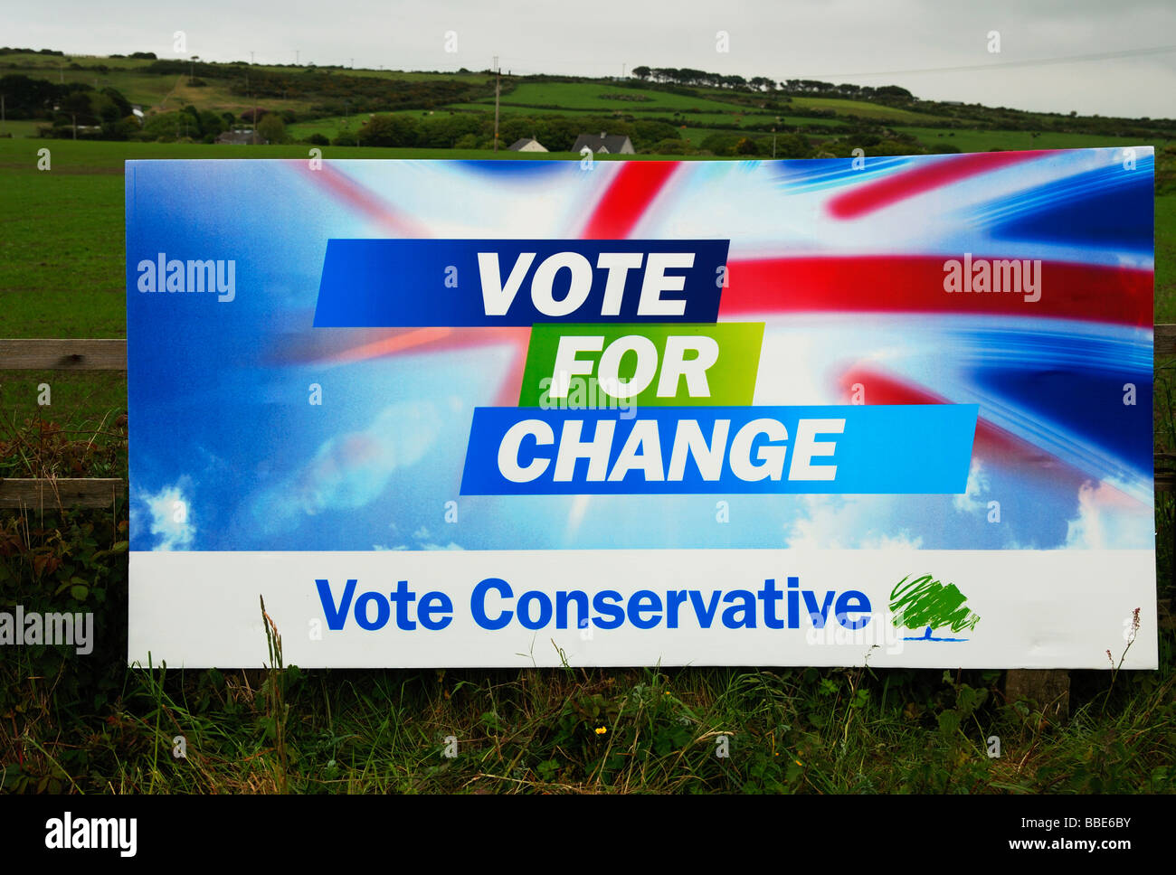 a conservative party advertising poster in rural cornwall,uk - Stock Image