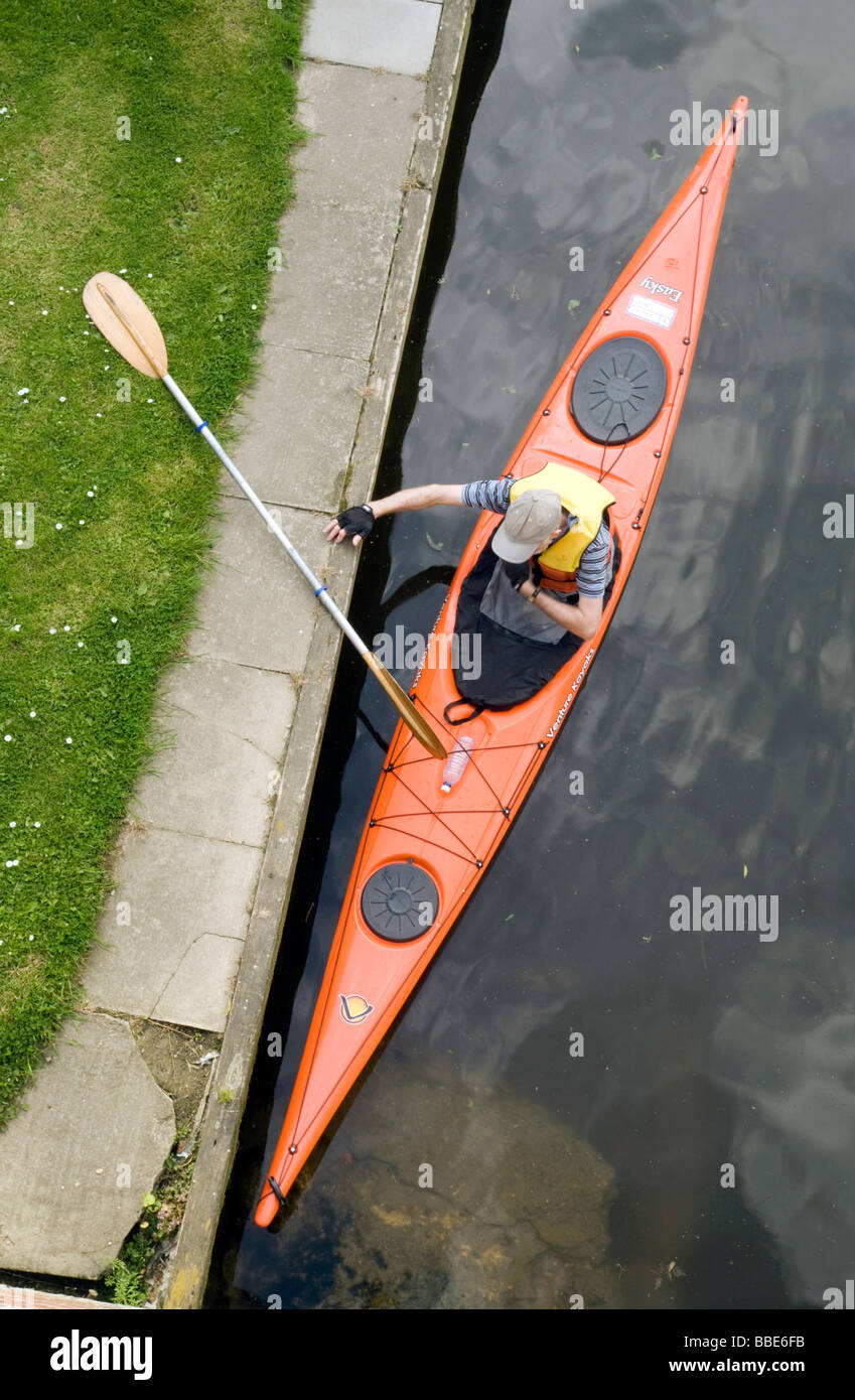A canoe from above on the river Thames at Shillingford, Oxfordshire, UK - Stock Image