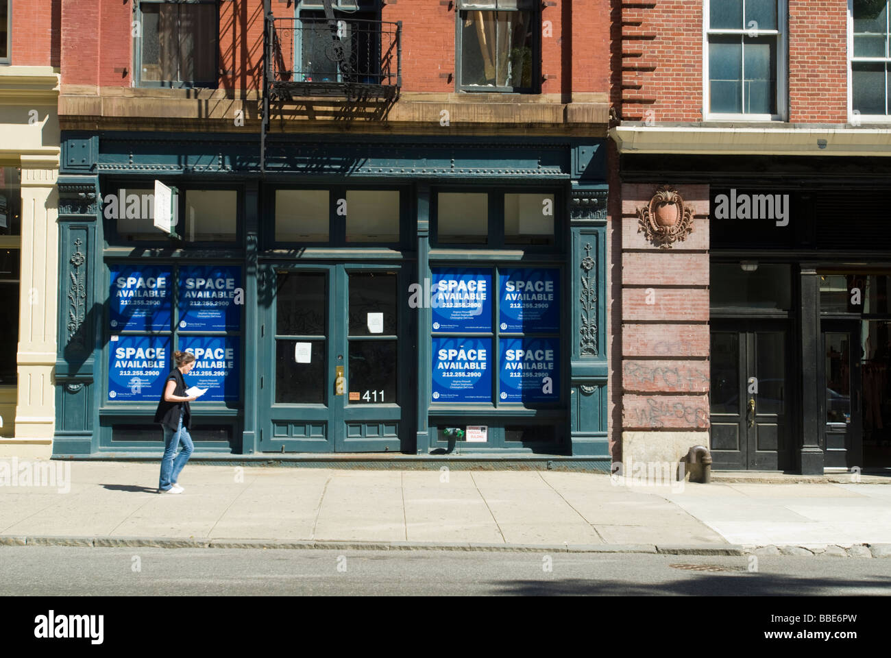 Vacant retail space on West Broadway in the Soho neighborhood in New York - Stock Image