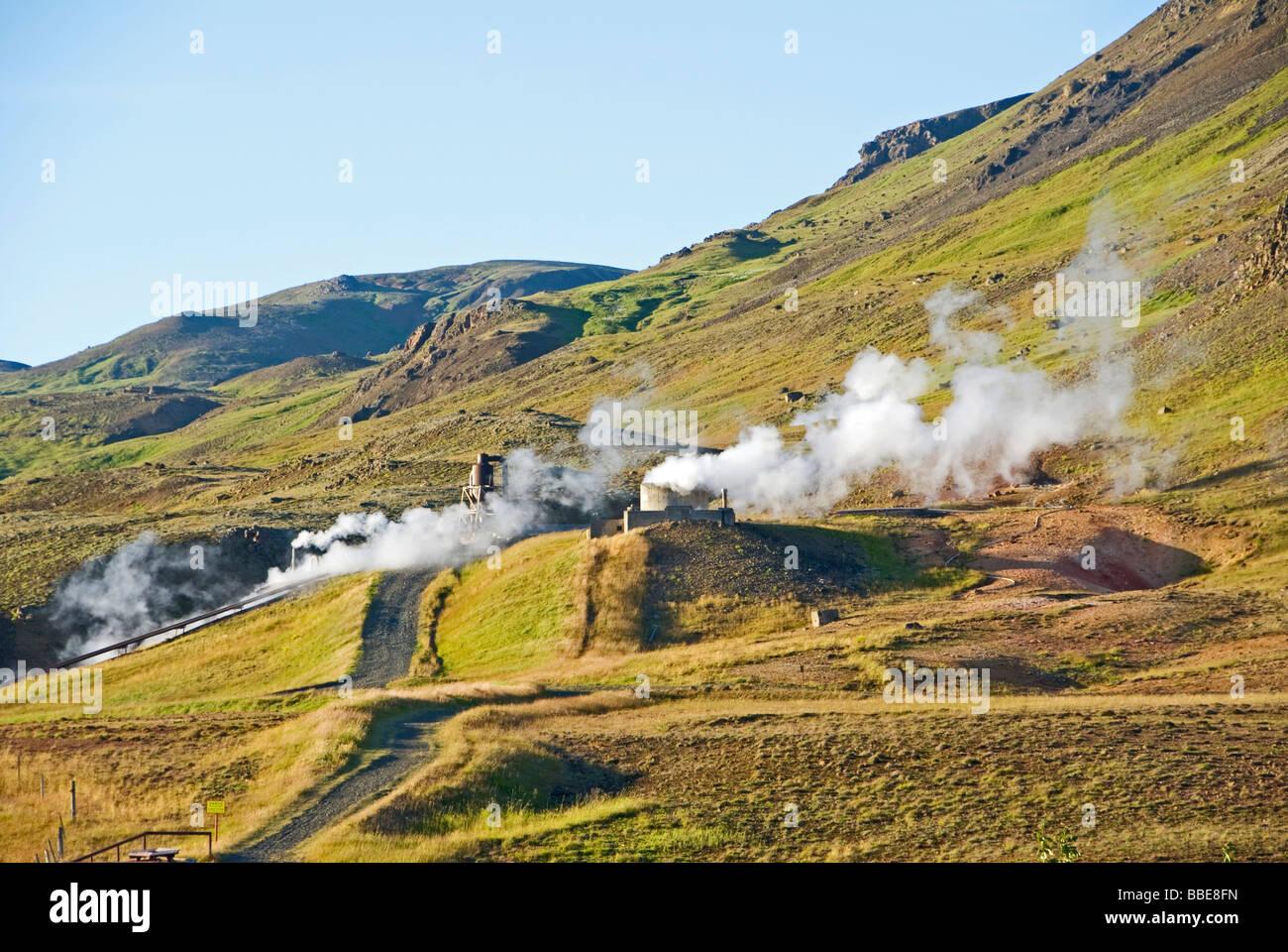 Hot springs, geothermalenergy, high-temperature area, Iceland, Europe - Stock Image