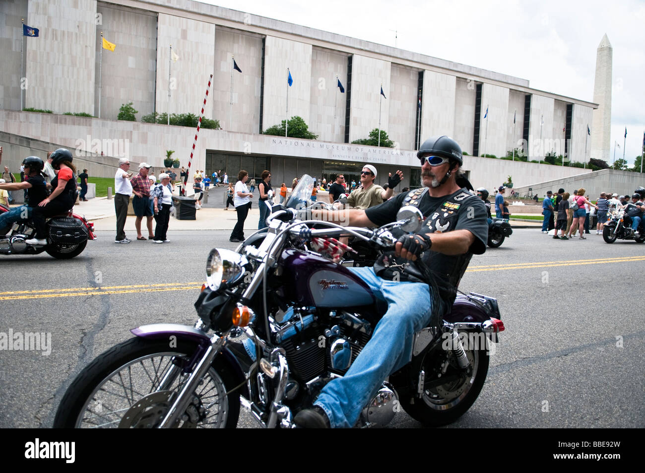 Thousands of Motorcycles on the streets of Washington DC, the annual Rolling Thunder event takes place every Memorial - Stock Image