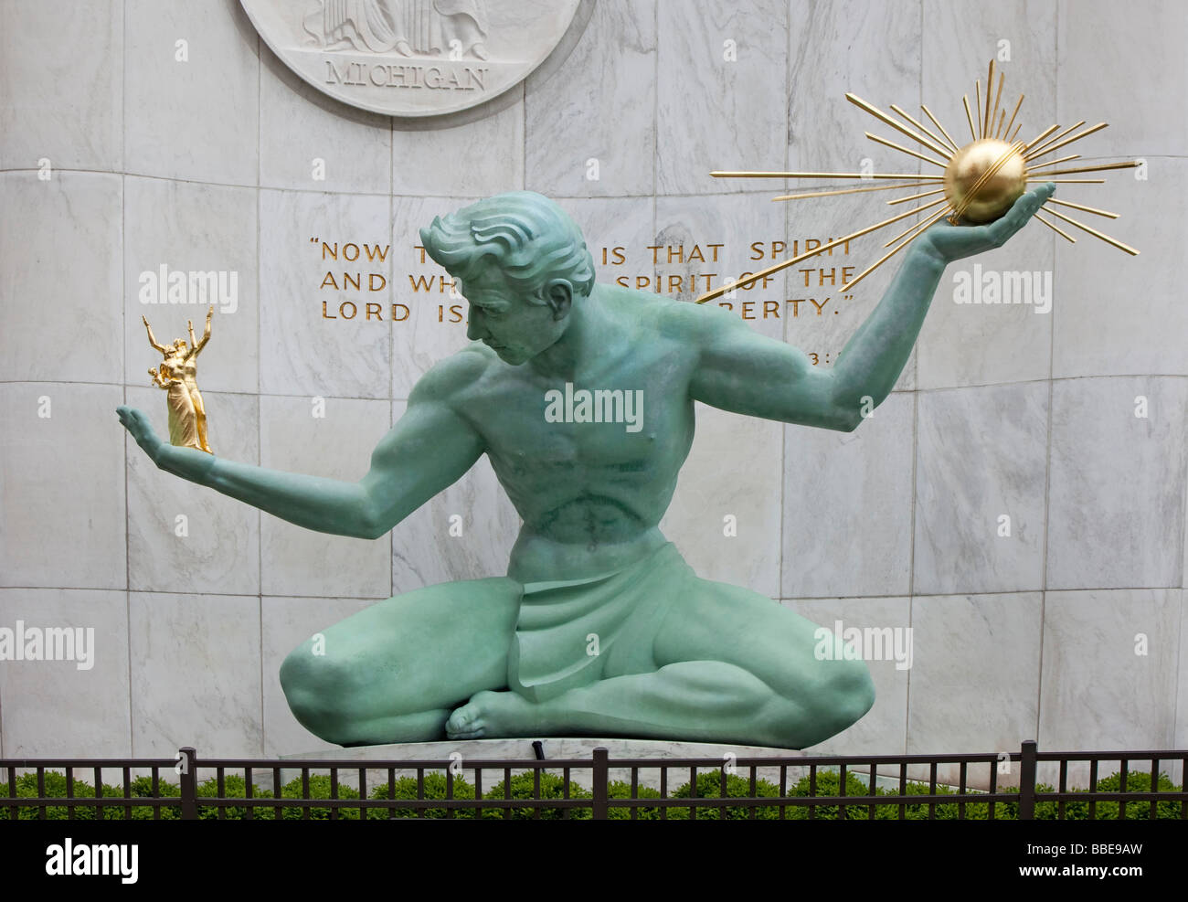 Detroit Michigan The Spirit of Detroit Sculpture by Marshall Fredericks at the Coleman Young Municipal Building - Stock Image
