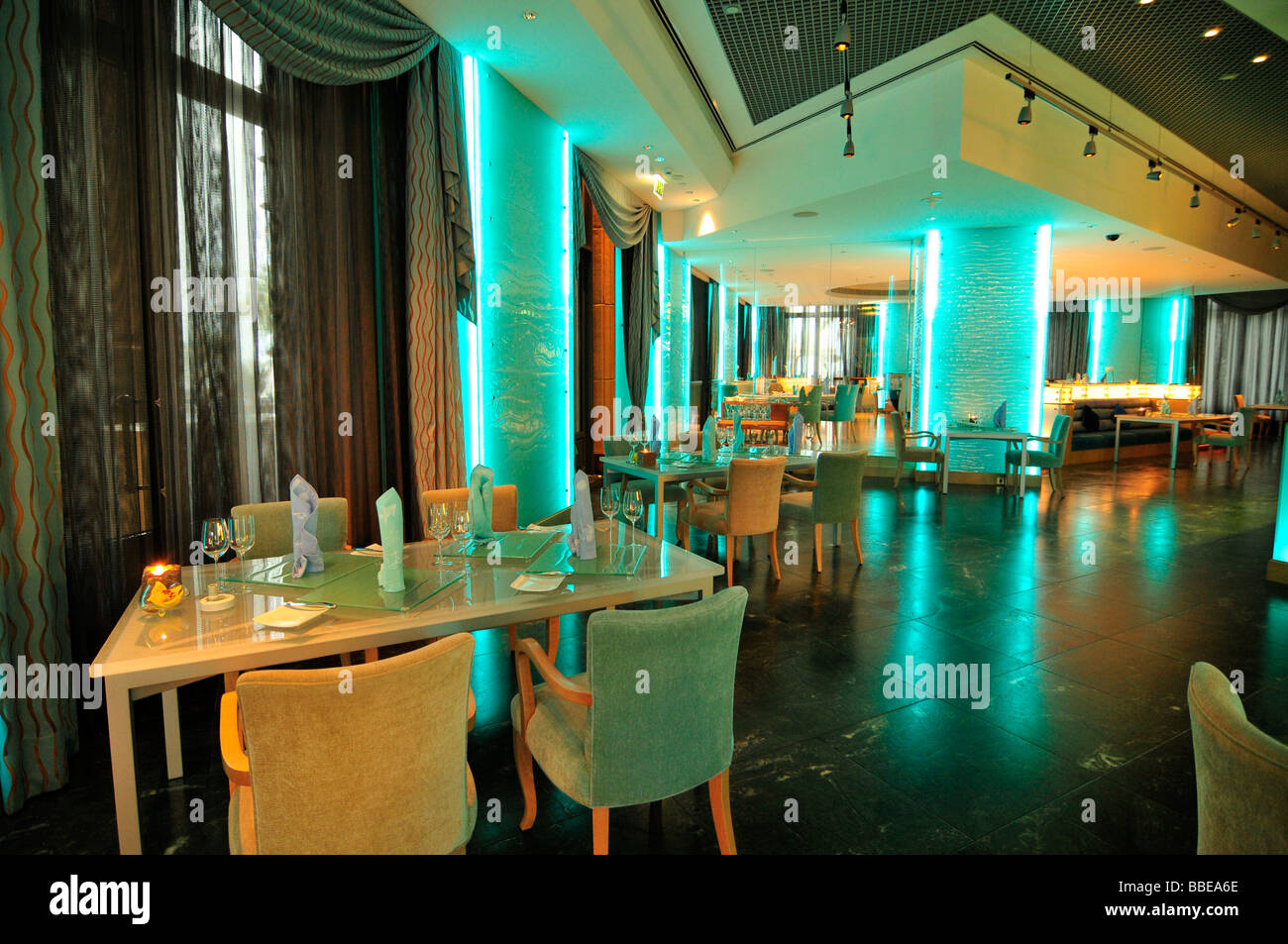 Stylish Interior Of The Sayad Seafood Restaurant In The Emirates Stock Photo Alamy