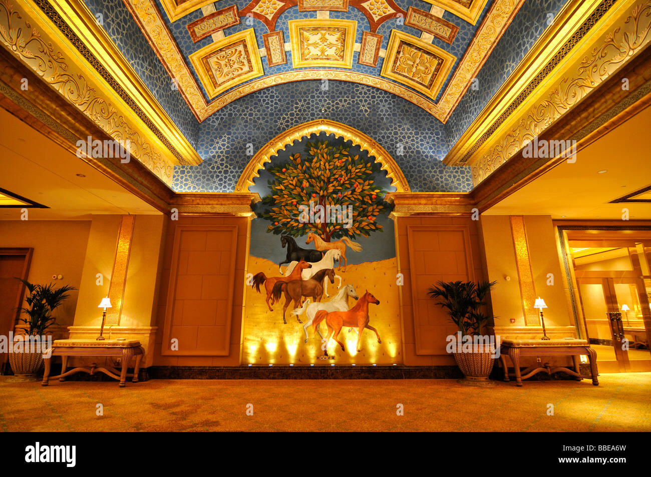 Blue Room of the Emirates Palace Hotel with a painting of the seven horses, which represent the United Arab Emirates, Stock Photo
