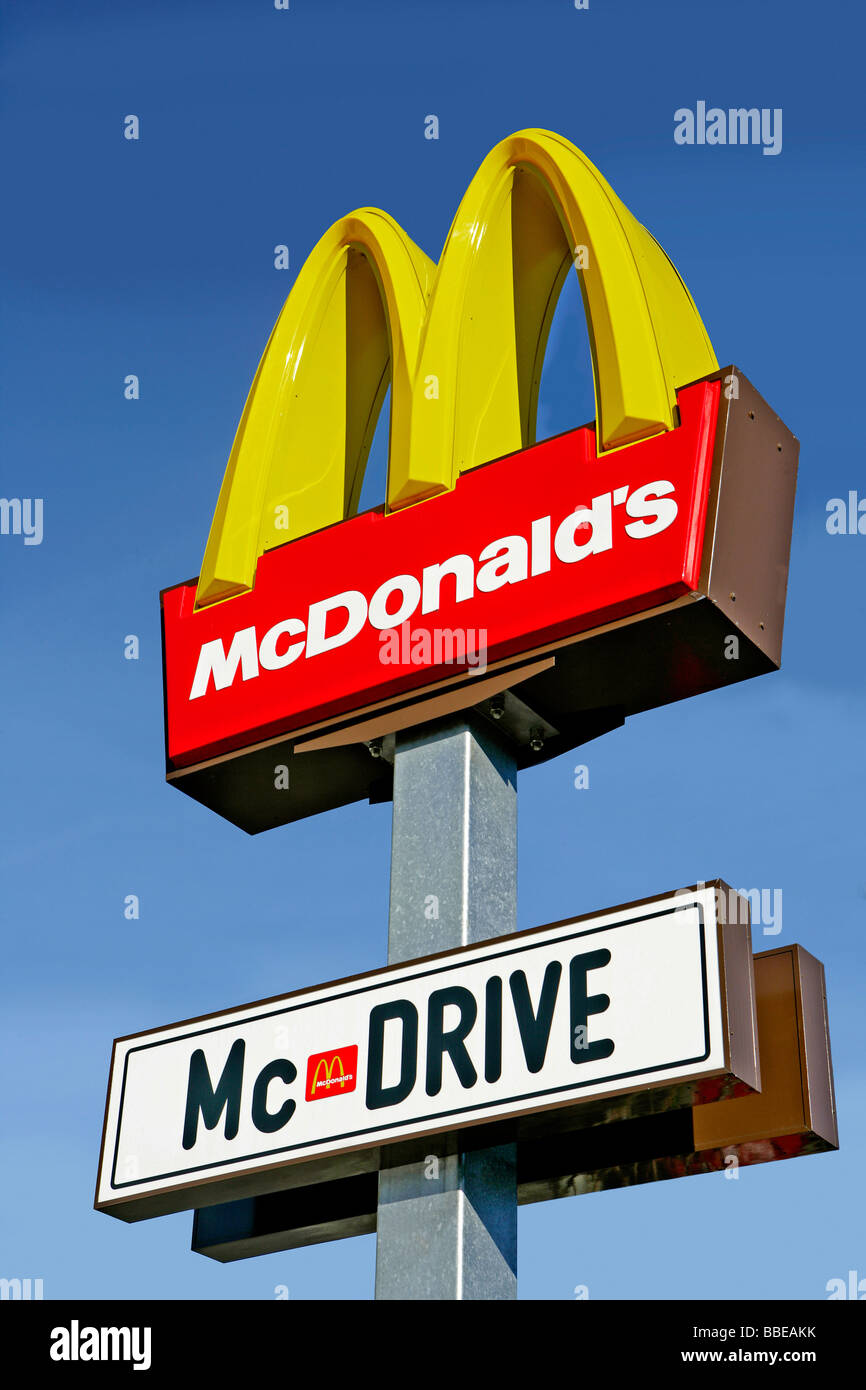 McDonalds sign, McDrive, Germany - Stock Image