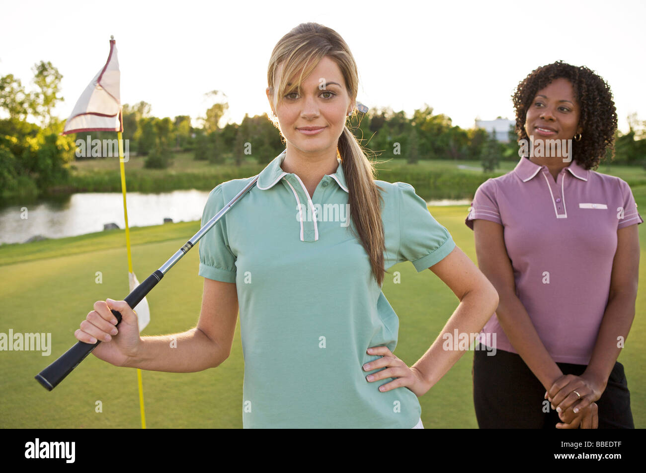 Friends Playing Golf, Burlington, Ontario, Canada Stock Photo