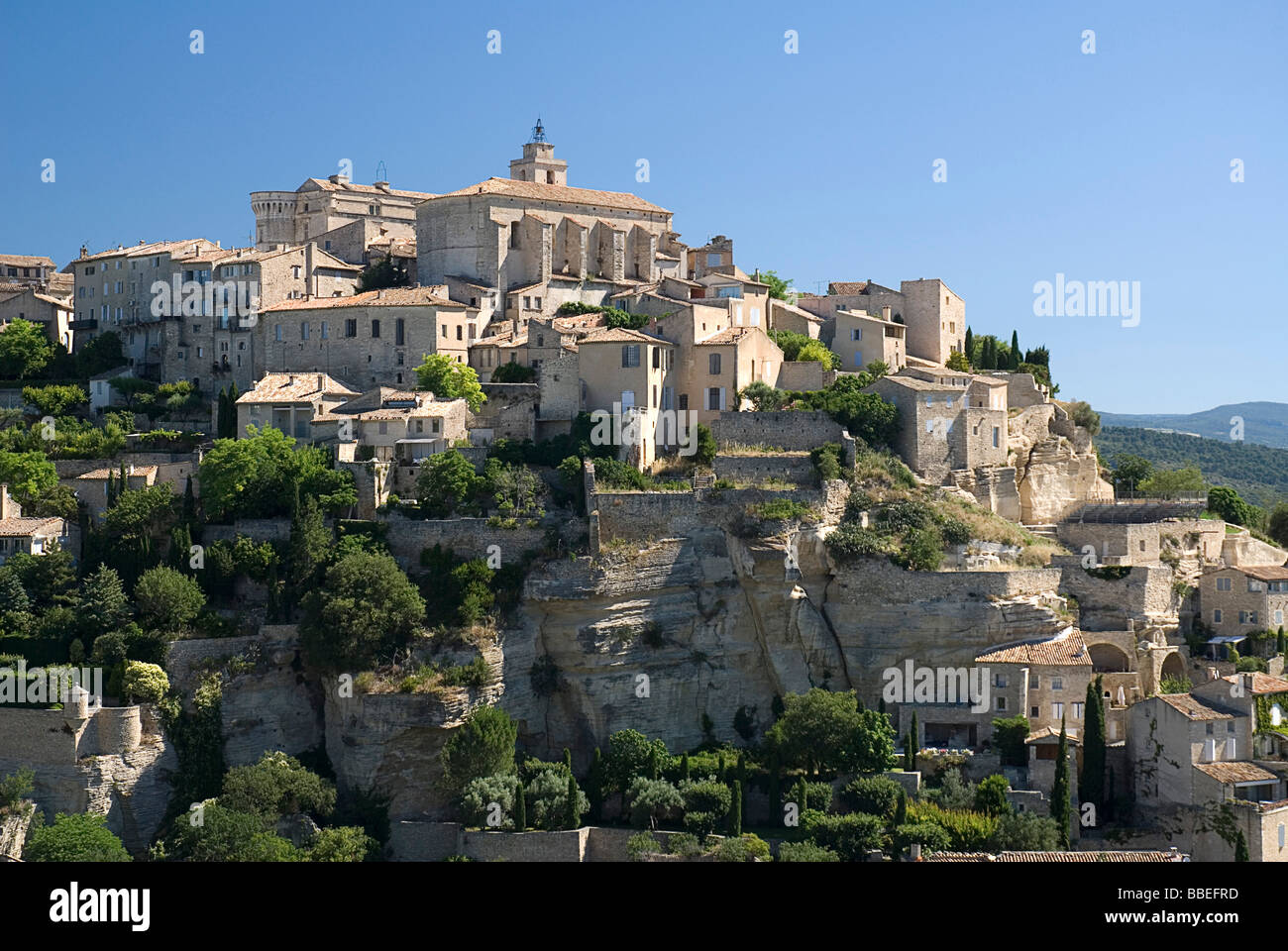 FRANCE Provence Cote d'Azur Vaucluse Gordes Provencal Hilltop village with sixteenth century chateau and church Stock Photo