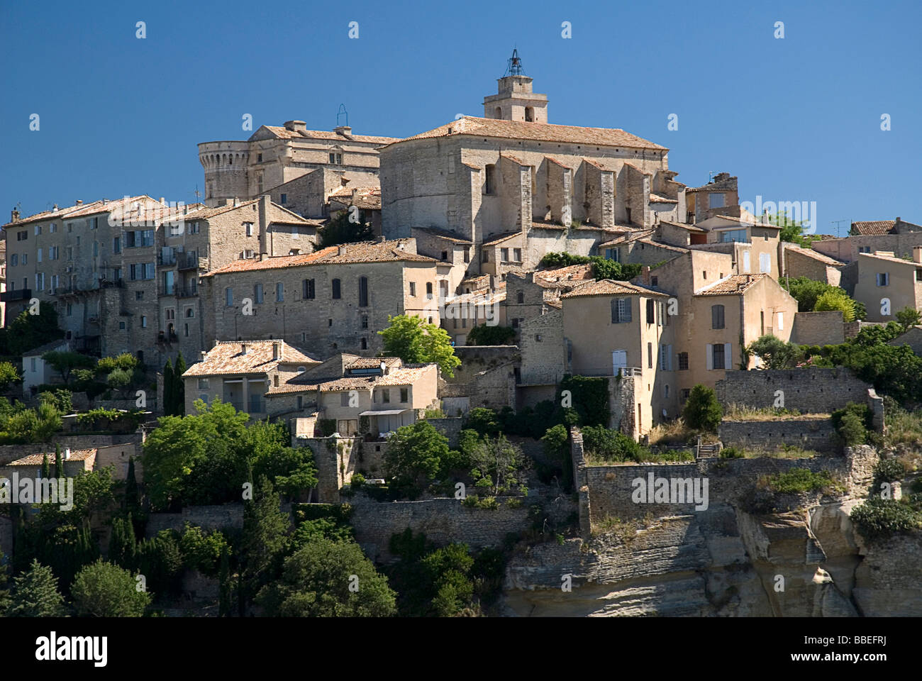 FRANCE Provence Cote d'Azur Vaucluse Gordes Provencal Hilltop village with sixteenth century chateau and church. Stock Photo